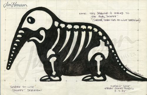 Snuffleupagus designer Kermit Love's drawing of Snuffy's skeletal structure.
