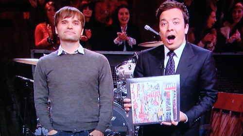 danceyrselfclean:  You guys Ben Gibbard was on Late Night With Jimmy Fallon…watch the Gibbs perform Teardrop Windows with The Roots and the web exclusive performance of Oh Woe over at The Audio Perv! Btw Jimmy's reaction to Ben up above was pretty much mine at the taping of LNWJF on 10/12/12 as well.  Just putting that out there.      I see he's rocking my old bowl cut, but in a not-shitty way. Good on ya, Ben.