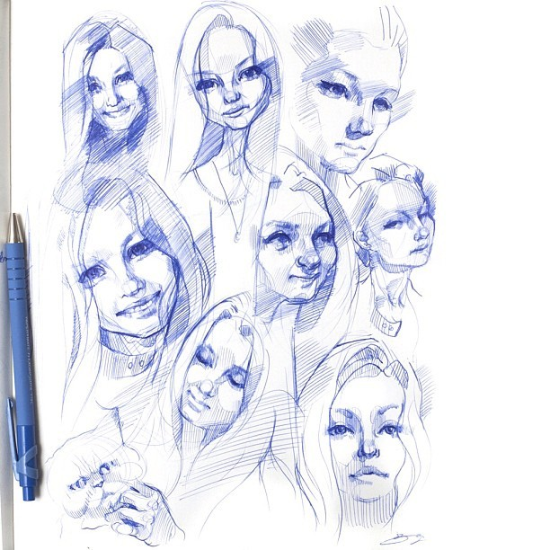 #quick #sketches #faces #studies #sketchbook #pen #ballpoint #bic #bicpen #ink #drawings #drawing #sketch - @fardad- #webstagram