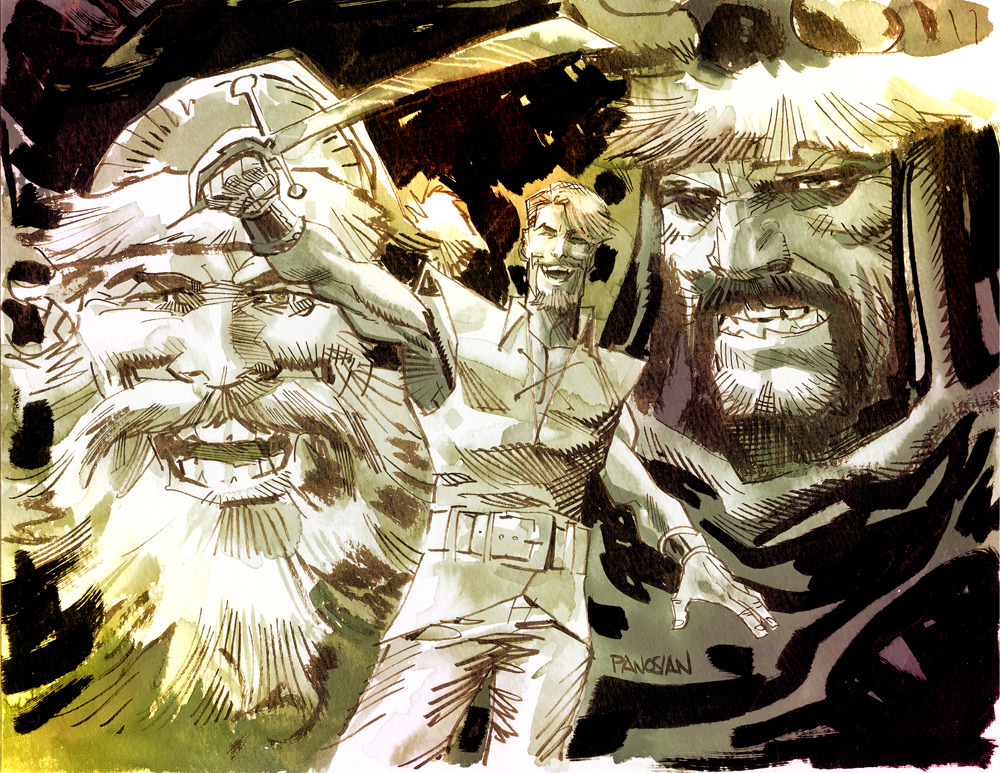 Volstagg the Voluminous, Fandral the Dashing, and Hogun the Grim.  Ink and watercolor by Dan Panosian.