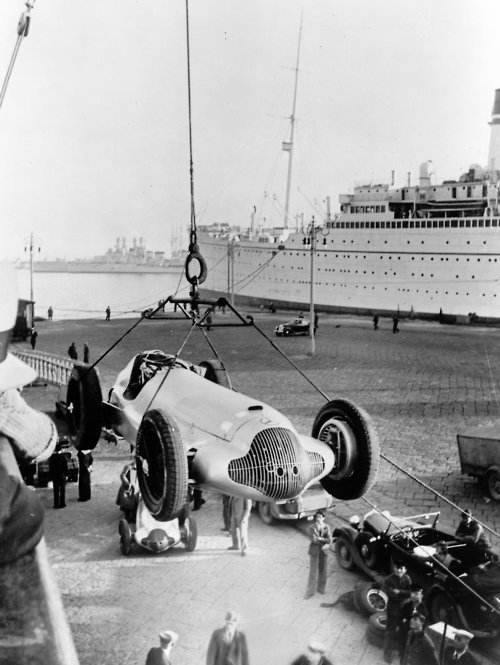 thekhooll:  Mercedes W125  1937 - Travelling by sea. From Daimler Archives