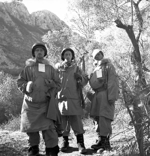 Italy 1944: Canadian personnel of the First Special Service Force awaiting medical evacuation. Near Venafro, Italy. January, 1944. Photo by Frederick G. Whitcombe. Left to right: Sgt. Roy Cooper, Portage LaPrairie, MB.; Sgt. Fred Hill, Havelock, ON; and Sgt. N.D. Torpe, Metiskou, AB.  (Collections Canada)