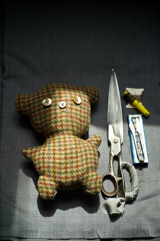Handmade Tweed Bear - Vintage Tweed, Mother of Pearl Eyes, Suiting Offcuts for stuffing.