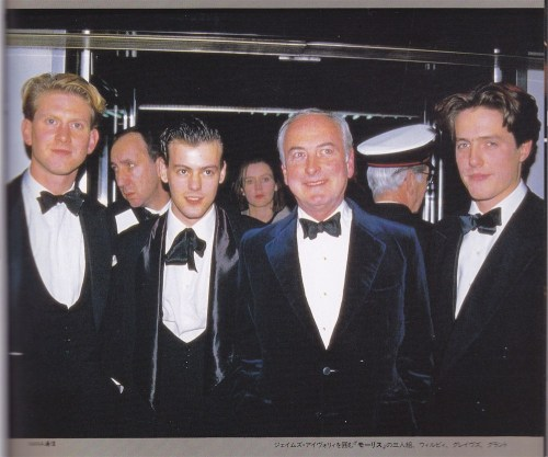"holmeslovewatson:  James Wilby, Rupert Graves, James Ivory, Hugh Grant.(from ""Igirishu no Kikoushi tachi Part 2."" Japanese British actor fanbook.)"