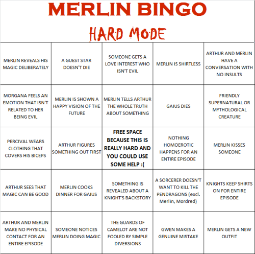 kylezy:  Some of you dared insinuate that my Merlin bingo card was too easy. So, here's a season-long challenge for you.
