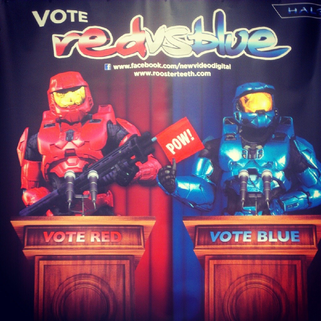Red vs blue photobooth at booth 1102! Rooster Teeth is posting all their favorites on Facebook and twitter!!