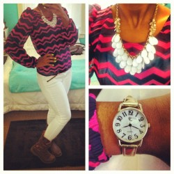 #outfitoftheday #ootd #fashion #wiw #whatiwore #chevron #jewelry #fallfashion  (Taken with Instagram)