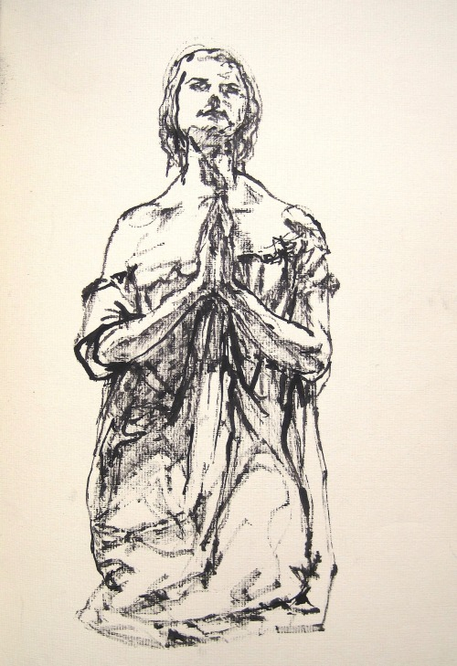 mountvision:  Italian sketchbook: a statue in Venice, bamboo and ink. Gregory Muenzen