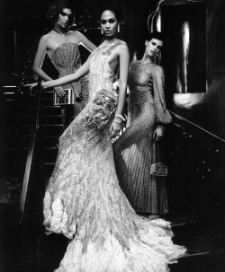 Arizona Muse, Joan Smalls, and Saskia de Brauw by Karl Lagerfeld for Harper's Bazaar US March 2012.