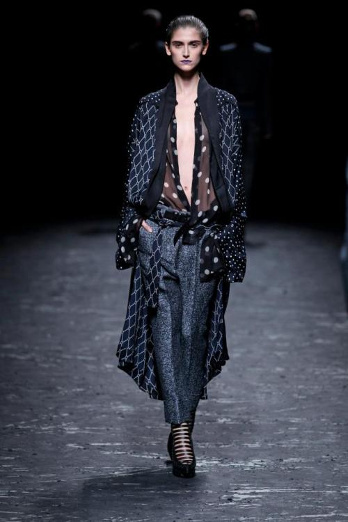 To dress entirely in Haider Ackermann, all day, everyday. This man has perfected the art of structure, draping, casual chic, nomad hermit, officewear slouch.. I could go on and on. His fabrics are lush, his styling impeccable. My new wardrobe aim is half dressing gown, half boardroom chic.Like Hugh Hefner, but much, much classier.