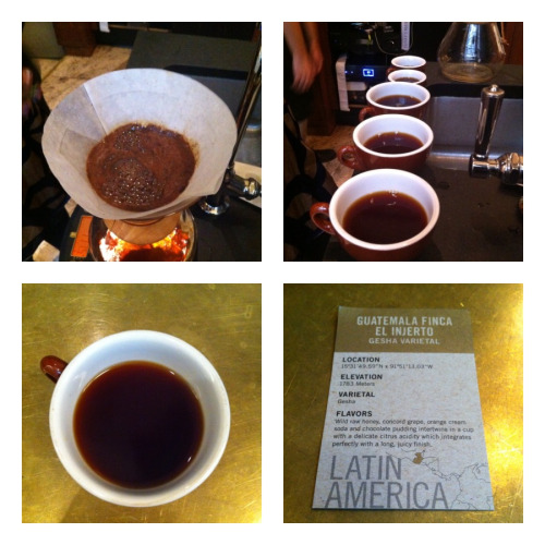 This week I got to try the Guatemala El Injerto Gesha varietal at Stumptown in NYC. This coffee sold out at $125 for a 12 oz. bag.