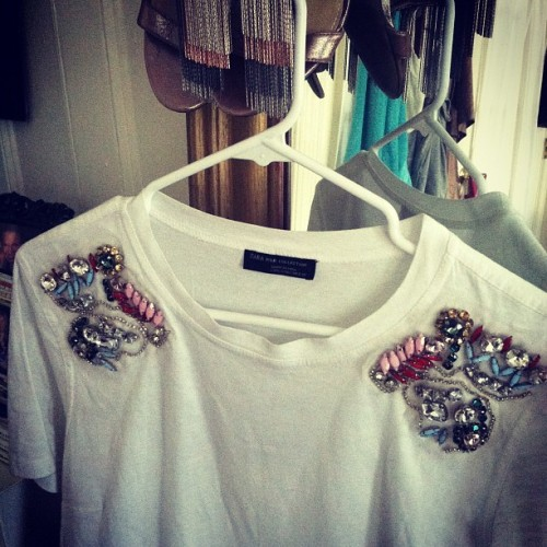 Best White T Ever, complete with shoulder appliqués to rule the world.  (Taken with Instagram)