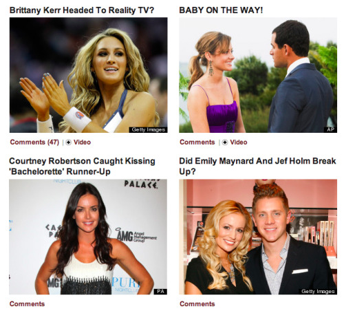 huffnos:  Celebrity page, October 13 2012 I have no idea who any of these people are  Me neither. But I'm kinda impressed by the way that even the world of Celebrities has become balkanized, fractured into hundreds of different sets of people who are famous to hundreds of different sets of the public. The concept of A-list/B-list/C-list is over: instead everything is context-dependent. I have no idea who Brittany Kerr is, but that doesn't mean she's necessarily less famous than, I dunno, Stephen Sondheim. We've just reached a world of different celebrities for different folks. It's almost reached the point at at which being Famous On The Internet is actually a real kind of celebrity now. Even if the new Julia Allison is Violentacrez.