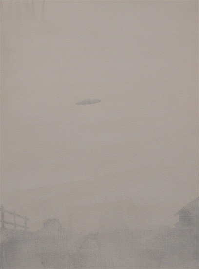 "Flying Saucer Monochromes Paintings by Vancouver artist Neil Wedman: ""No, I don't believe in UFOs but I've always been attracted to the fantastic images peculiar to certain superstitions and beliefs, particularly more modern, quasi-scientific notions like Spiritualism, seances and spirit photography and flying saucers."""