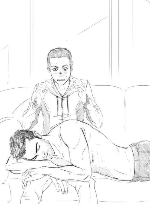"…And then one day Derek decides to take a nap on Stiles. ""Um."" Stiles says. ""That's nice. Yeah."" By the time the words are out, Derek's breathing is slow and even and Stiles is really not sure what's the best course of actions from there. ""Scott."" He calls out, quietly, because Scott's just outside the house and he'll hear him with his supercool werewolfey hearing. He has to. ""Scott, buddy, help. There's Derek in my lap and I think he's sleeping and he still looks like he's planning to murder me. I don't know what to do with this."" Stiles fully expects Derek to wake up, but no. No one's waking up and no one's coming to save him either, he figures about 10 minutes and several considerably louder cries for help later.   I was just gonna try and figure out a cartoony style for them so I don't have to reference them every time. Yeah, that went well. Oh no it really didn't."