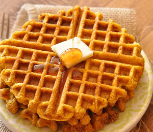 findvegan:  Vegan Pumpkin Cornbread Waffles - perfectly crisp and sweet.