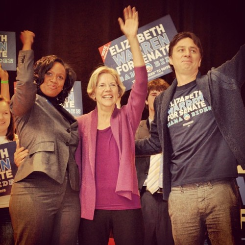 elizabethwarrenma:  Great rally at Northeastern with Zach Braff! (Taken with Instagram)