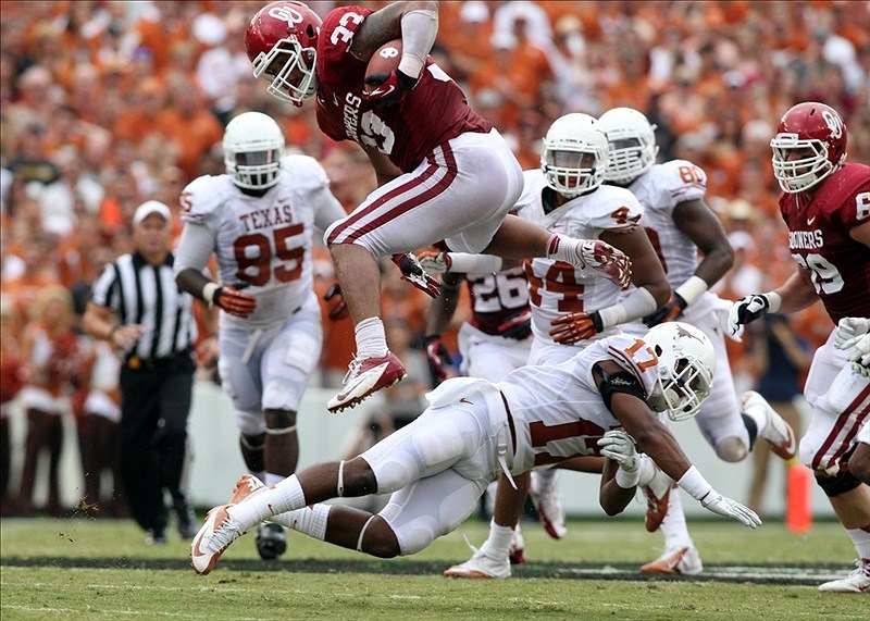 Red River One-Sided Rivalry? No. 13 Oklahoma leads No. 15 Texas 36-2. 36-2! Oh, and it's still the first half.