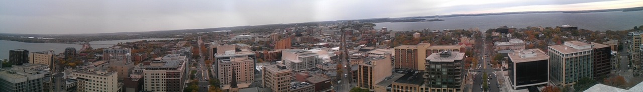 Here is a panorama from the top of the Wisconsin capitol.