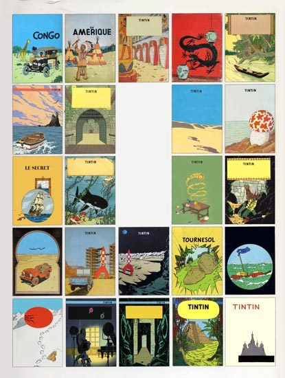 melimeloop:  assortedschmidt:  THE -tintin- PROJECTSince may 2011 I have proceeded to digitally remove Tintin (and most of the other characters) from the covers of ALL of the 23 (finished) comic books of the series. First, to see what would be left when we take out the hero(es), but also because the word «tintin» itself, an old French slang term, means : zilch, bupkiss, nada…i.e. «nothing at all!». The next phase of the project would be to produce full-size versions of the 23 altered covers for an art exhibition. LE PROJET -tintin-En mai 2011 j'ai commencé à effacer Tintin (et la plupart des autres personnages) de la couverture de TOUS les 23 albums complets de la série. Tout d'abord pour voir ce qui reste lorsqu'on enlève le(s) héro(s), mais aussi parce que le mot «tintin» lui-même est une vieille expression d'argot signifiant : «que dalle»…«rien du tout!»La 2e phase du projet consisterait à produire des versions grandeur nature des 23 couvertures modifiées pour une exposition. My 23 altered covers, in publishing order of the original comic book.Mes 23 couvertures modifiées, par ordre de publication de la BD originale. 01- Tintin au pays des Soviets : assortedschmidt.tumblr.com/post/33508184509 02- Tintin au Congo : assortedschmidt.tumblr.com/post/10796860767 03- Tintin en Amérique : assortedschmidt.tumblr.com/post/17578679019 04- Les Cigares du Pharaon : assortedschmidt.tumblr.com/post/22696123906 05- Le Lotus bleu : assortedschmidt.tumblr.com/post/20042677909 06- L'Oreille cassée : assortedschmidt.tumblr.com/post/25436717625 07- L'Île Noire : assortedschmidt.tumblr.com/post/20445188813 08- Le Sceptre d'Ottokar : assortedschmidt.tumblr.com/post/24586631245 09- Le Crabe aux pinces d'or : assortedschmidt.tumblr.com/post/10080165877 10- L'Étoile mystérieuse : assortedschmidt.tumblr.com/post/5699192524 11- Le Secret de La Licorne : assortedschmidt.tumblr.com/post/6060437957 12- Le Trésor de Rackham le Rouge : assortedschmidt.tumblr.com/post/13709219115 13- Les Sept Boules de cristal : assortedschmidt.tumblr.com/post/8853584296 14- Le Temple du Soleil : assortedschmidt.tumblr.com/post/19046524616 15- Tintin au pays de l'or noirassortedschmidt.tumblr.com/post/14051280890 16- Objectif Luneassortedschmidt.tumblr.com/post/19121683076 17- On a marché sur la Luneassortedschmidt.tumblr.com/post/18646524513 18- L'Affaire Tournesol : assortedschmidt.tumblr.com/post/26358302658 19- Coke en stock : assortedschmidt.tumblr.com/post/18555760116 20- Tintin au Tibet : assortedschmidt.tumblr.com/post/14901267369 21- Les Bijoux de la Castafiore : assortedschmidt.tumblr.com/post/33508088598 22- Vol 714 pour Sydney : assortedschmidt.tumblr.com/post/24043478692 23- Tintin et les Picaros : assortedschmidt.tumblr.com/post/21629476408