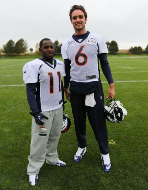 "BFFs! @Denver_Broncos: At 5'5"" Trindon Holliday is the shortest Bronco in team history, while Brock Osweiler ties for the tallest at 6'8"""