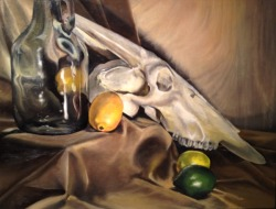 laurashull:  Still Life with Skull Painting II, Fall 2012
