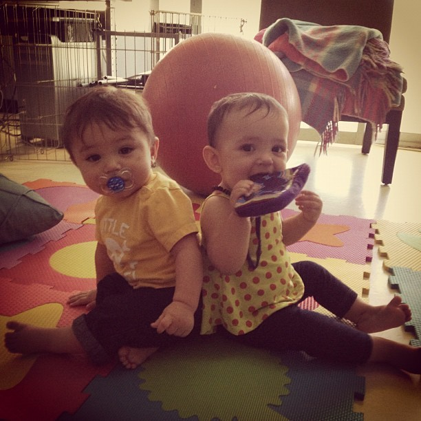 9 months old today. They sat like this on their own. #cashandpatience #love #family (Taken with Instagram)