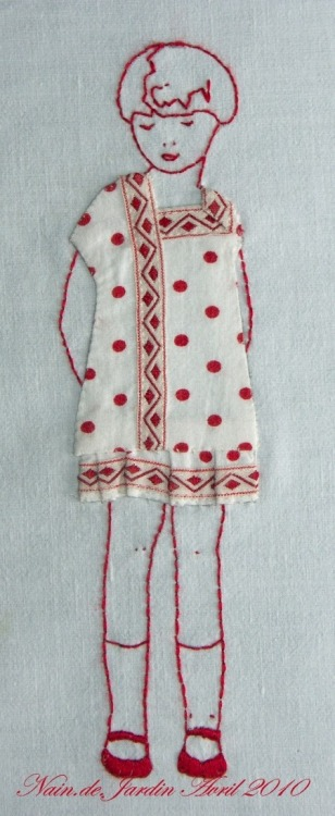 apositivelybeautifulblog:  (via Polka Dots / Redwork & applique doll… ღ it!)