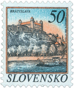 Bratislava Castle in Bratislava Slovakia - stamp issue 1993 Monumental castle known from the beginning of 10th century, built on former Slavonian fortification from 9th century from Great Moravian Empire above Danube river. Latest reconstruction is from 1956-1968. One of the city signatures. Location: N 48.142276, E 17.100043 Architecture styles seen in castle: romanesque, gothic, renaissance, baroque The castle stands on a hill where the earliest occupation dates back to the Neolithic period (5th millennium BC). The Castle was first time mentioned in Salzburg annals in 907 AD. Current appearance was built in 15th century AD (1427). The palace wing was built between 1431-34. Next reconstruction happened between 1552 - 1639 lead by Italian architects. The castle became coronation headquarters during the Tartar incursions from the east. The last big reconstruction was based on works of french, italian and austrian architects - J. N. Jadot, L. N. Pacassi and J. B. Martinelli in 1750-1760. In 1811 the castle was ruined by big fire and for 140 years remained damaged. The reconstruction started in 1953 restored its original appearance. via pofis