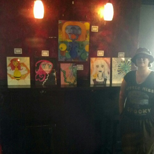 @persephpom setting up her Original Women series of mixed media pieces for tonight's show! (Taken with Instagram)