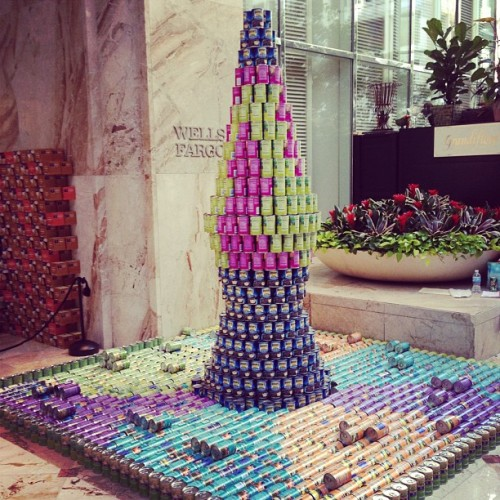 How to spend a Saturday… try building a lava lamp out of canned food! #canstruction #rva #foodbank (Taken with Instagram)