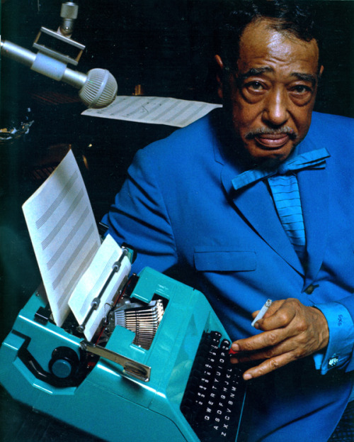 Ellington At The Keyboard. Photograph of Duke Ellington for an Olivetti advertisement. Undated. (via Milton Glaser Design Study Center And Archives: Images from the Henry Wolf Collection)