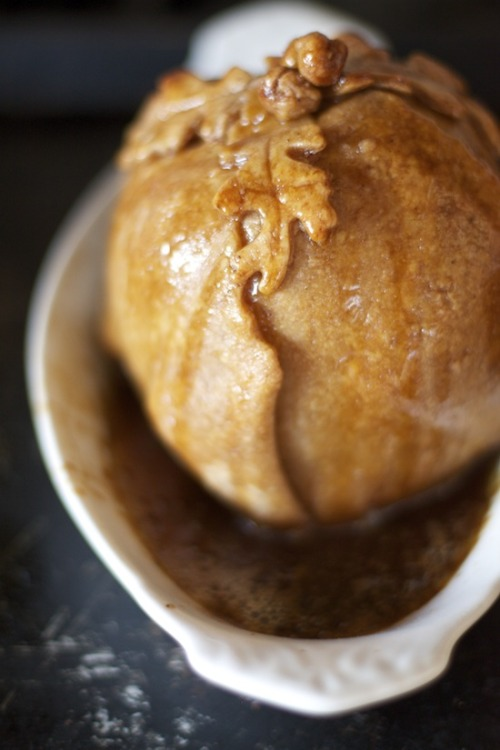 bakeddd:  honeycrisp apple dumplings with browned butter sugar sauce click here for recipe