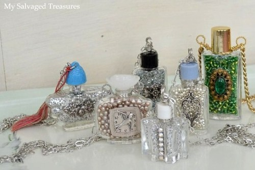 truebluemeandyou:  DIY Wire Wrapped Recycled Perfume Bottle Pendants Tutorial from My Salvaged Treasures here. This is a really inexpensive way to make small bottle pendants.
