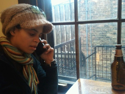 At Bourgeois Pig with Mojdeh. Important phone conversation taking place…
