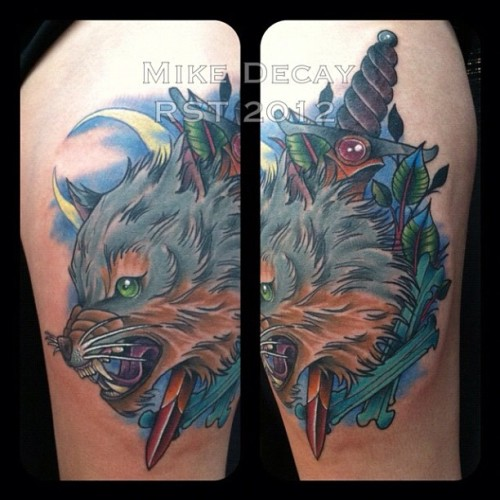 Just finished this piece on a rad client. @tattooed_beauty89 #tattoo #wolf #wolftattoo #dagger #mikedecay #thightattoo #providence #rhodeisland #richmondsttattoo #tattooflash  (Taken with Instagram)