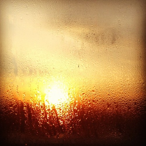 A little abstract-y sunset. #sunset #condensation #window #orange #305knowlton #bridgeport #mabp  (Taken with Instagram)