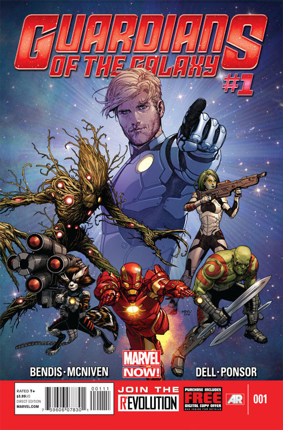 medusaliths:  gamoraing:  Guardians of the Galaxy #1  I am having so many conflicted feelings right now. Like I kind of knew Bendis was going to be on the project, but eh. And I don't like the costumes. And who is that one guy? And I see they're are still trying to make Peter blonde. But I am still pretty fucking excited.  I am cautiously optimistic. I wish it wasn't Bendis doing the writing but oh well. I miss the old costumes though. Especially Star-Lord's ;_;