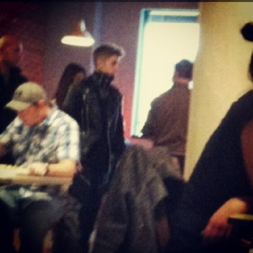Justin leaving Blue Plate Diner earlier today in Edmonton