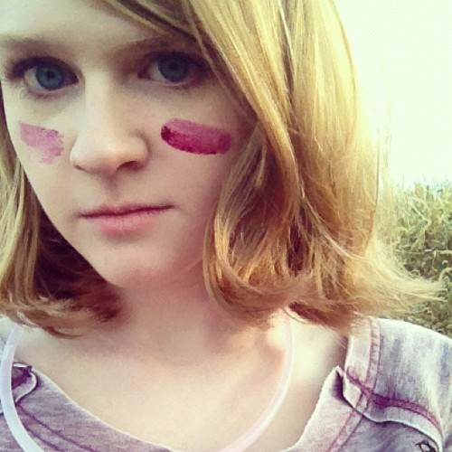 corn maze berry war paint (Taken with Instagram)