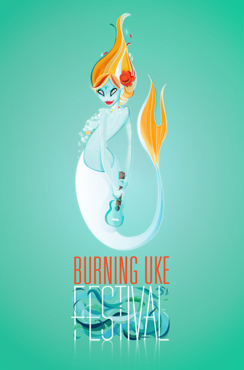 Burning Uke Festival poster by Michele Vanparys Spot-on lovely work promoting the recently passed Burning Uke in Gent, Belgium (August 25) (artist's blog and portfolio) …a ukulele festival for the Gent-ry, with plenty of live music, rarities, open mic, raffle, market en much much more. (via ShellyRickey)