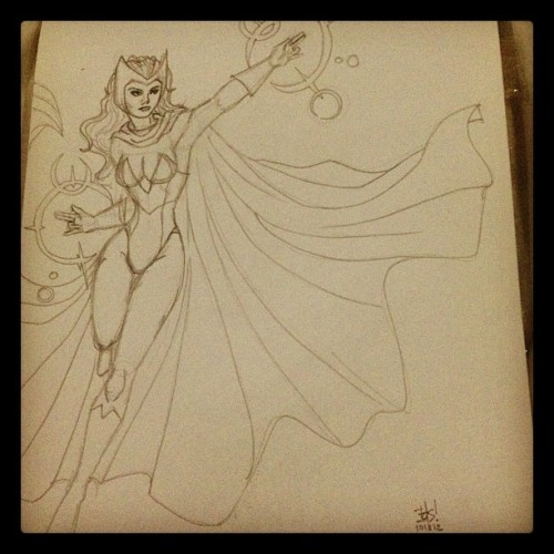 The Scarlet Witch (w/ face, this time) #xmen #sketch (Taken with Instagram)