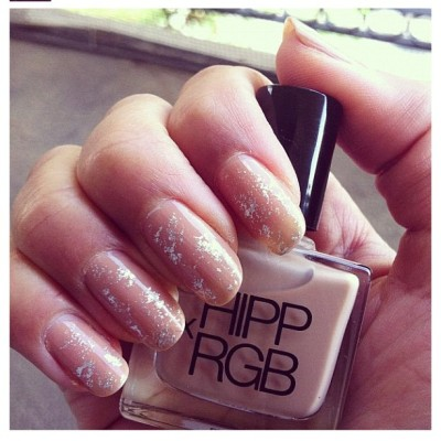 #hippxrgb #nudenails/silver fleck inspired by a throwback @britneyspears VMA look by @nataliealcala. Get it right HERE