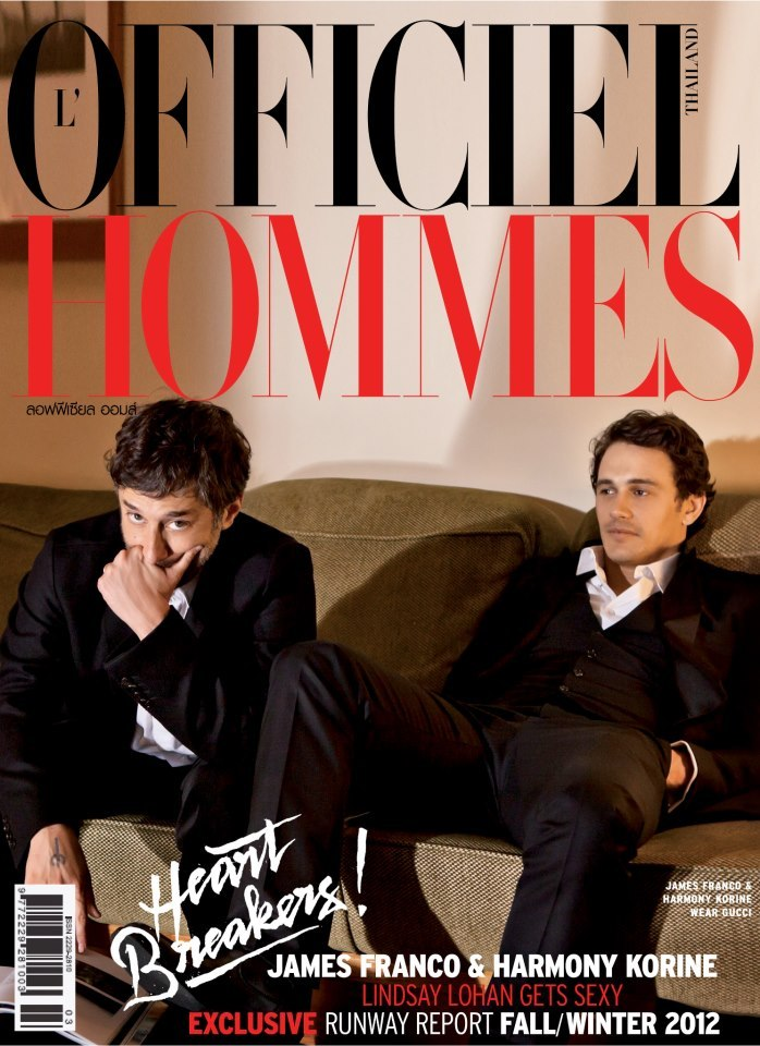 James Franco and film director Harmony Korine on the cover of L'Officiel Hommes Thailand.