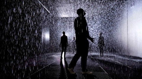 The Rain Room art installation makes me want to book a flight to London, asap. Created by rAndom, it allows visitors to pass through a downpour without getting wet. Cameras map human movement in the 100-square-meter room and send instructions for the rain to move near people, yet not too near, as they traverse the space. Fascinating.