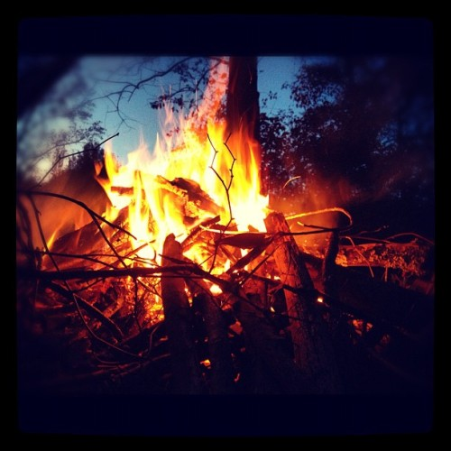 Warming up with the babies #fall #campfire (Taken with Instagram)