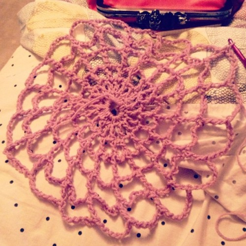Working on a crochet spider web surprise! #crochet #spiderweb #yarn #handmade #halloween #purple (Taken with Instagram at Crochet Castle)