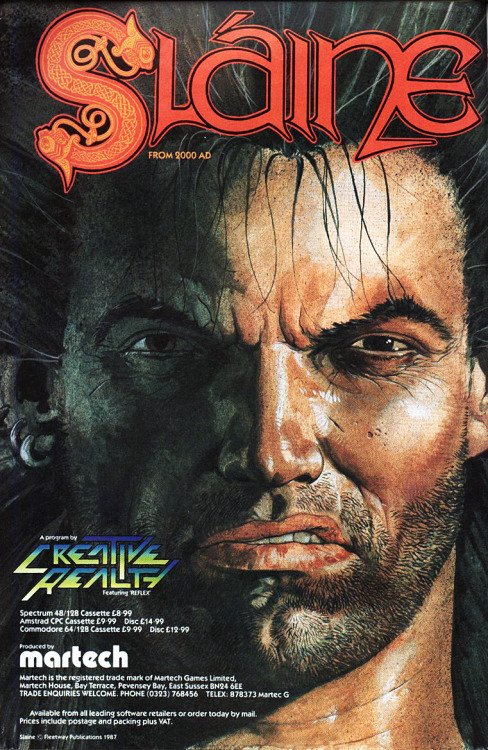 A surly advertisement for Slaine: From 2000 AD (1987), on Amstrad CPC, Commodore 64, and ZX Spectrum by Creative Reality. Published by Martech.