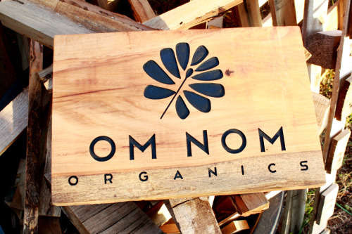 Om Nom Organics is an organic food store in downtown LA. This and another identical sign will hang in their storefront at 9th and Broadway.