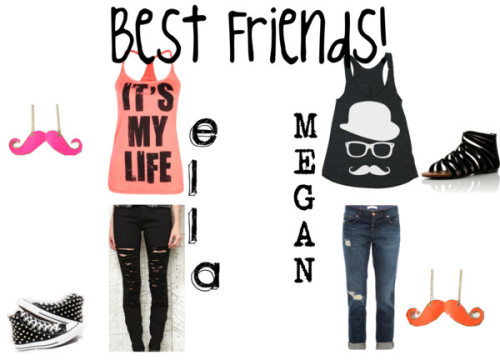 Best Friends Forever by kierseygirls featuring straight leg jeansConverse top / American Apparel racer back tank top / Full Tilt colorblock shirt / J Brand straight leg jeans / BDG cigarette jeans, $80 / Flats sandals, $8.04 / Chain jewelry